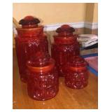 Red Glass Canister Set
