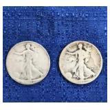 Two 1937 & 1941 Walking Liberty Half Dollars. Mint