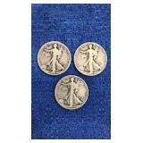 Three 1927, 1928, 1929 Walking Liberty Half Dollar