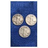Three 1943 Walking Liberty Half Dollar D Mint