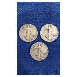 Three 1943 Walking Liberty Half Dollar P&s Mint