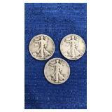 Three1944 Walking Liberty Half Dollar P&s Mint