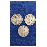 Three1943 Walking Liberty Half Dollar S Mint