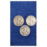 Three1946 Walking Liberty Half Dollar P Mint