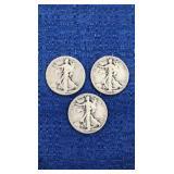 Three1936 Walking Liberty Half Dollar P Mint