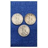 Three1937 Walking Liberty Half Dollar P Mint