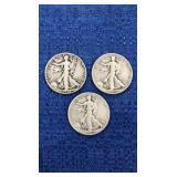 Three1945 Walking Liberty Half Dollars P,d,s Mint