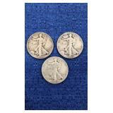 Three1944 Walking Liberty Half Dollars P Mint
