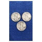 Three1943 Walking Liberty Half Dollars P,d,s Mint