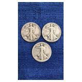 Three1941 Walking Liberty Half Dollars D&s Mint