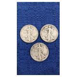 Three1944 Walking Liberty Half Dollars P,d&s Mint