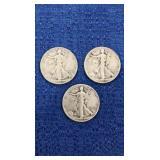 Three1944 Walking Liberty Half Dollars P&s Mint