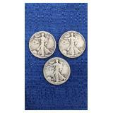Three1939 Walking Liberty Half Dollars P Mint