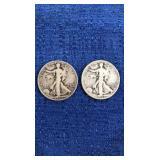 Two1942 Walking Liberty Half Dollars D&s Mint
