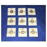 Nine 1946,1947,1948 Dime Sets P,d,&s Mint