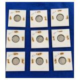 Nine 1949,1950, 1951 Silver Dime Sets P,d,&s Mint