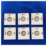 Six 90% Silver Dime Sets. P&d Mint Mark.