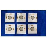 Six 90% Silver Roosevelt Dime Sets.p&d Mint Mark