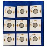 Nine 90% Silver Roosevelt Dime Sets. P,d,&s Mint M