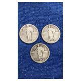 Three 1917 Standing Liberty Quarters Mint Marks