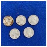 Five Washington Silver Quarters 1964