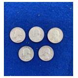 Five Washington Silver Quarters Dated 1964