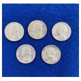Five Washington Silver Quarters Dated1964