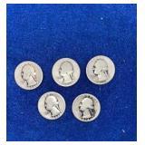 Five Washington Silver Quarters Mixed 1930