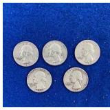 Five Washington Silver Quarters Mixed 1960