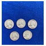 Five Washington Silver Quarters Mixed 1950