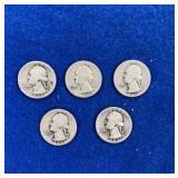 Five Washington Silver Quarters Mixed 1940