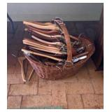 Wicker Basket And Wood Hangers
