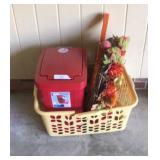 Waste Bin, Wreath, And Laundry Basket