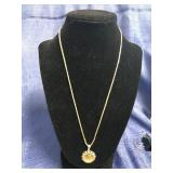 Gold Chain With Panda Coin Pendant