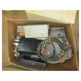box lot of cv radios and power invertors