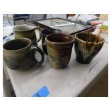 (5) pottery mugs