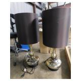 pair of metal based lamps w/shades