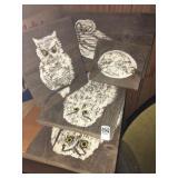 """give a hoot"" Barbara Stone wooden owl art"
