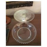 Silver cake pedestal and matching glass bowl