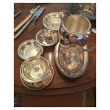 Sliver pitcher, tray and bowls
