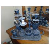 Silver service set with candelabra and tray