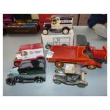 Die cast Truck, banks, and wooden truck