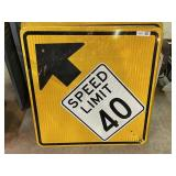 Speed Limit 40 Ahead Sign