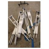 Lot of 7 Crutches