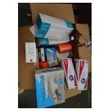 box of gloves, finger splints, sponges etc