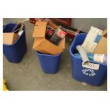 lot of 3 blue buckets w/ contents
