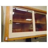 Wooden Wall Cabinet with 4 Sliding Glass Front Doo