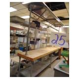 Stainless Steel Butcher Block Top Table with Pot R