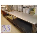 Stainless Steel Work Table with 4 well pan holes