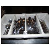 75 Spoons 50 Forks 20 Knives in Silverware Bin